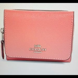 Coach Bright Coral Small Trifold Wallet NWT